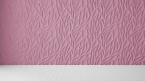 Empty room interior design, pink panel and wooden blank floor, modern architecture background with copy space, template mockup. Idea vector illustration