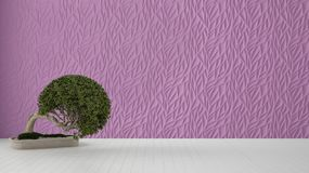 Empty room interior design, purple decorated molded panel, wooden white floor and potted plant, modern architecture background. With copy space, zen template royalty free illustration