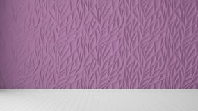 Empty room interior design, purple panel and wooden blank floor, modern architecture background with copy space, template mockup. Idea stock images