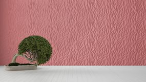 Empty room interior design, red decorated molded panel, wooden white floor and potted plant, modern architecture background with. Copy space, zen template royalty free illustration