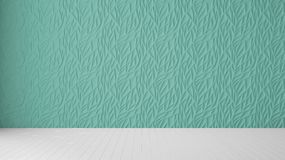 Empty room interior design, turquoise panel and wooden blank floor, modern architecture background with copy space, template. Mockup idea royalty free illustration