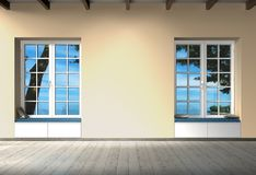 Empty room interior design with windows and copy space for images, photos or art work stock photos