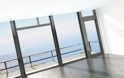Empty room interior with floor to ceiling windows and scenic view stock photo