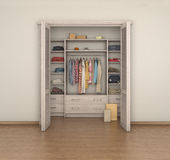 Empty room interior and full closet; Stock Photos