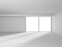 Empty Room Interior. Futuristic White Architecture Design Backgr. Ound. 3d Render Illustration Royalty Free Stock Image