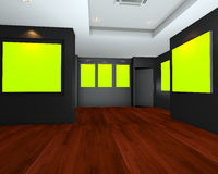 Empty room interior with green chromakey backdrop canvas Royalty Free Stock Photo