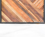 Empty room interior,Grunge diagonal wood plank wall and concrete Stock Photography