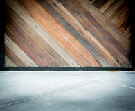Empty room interior,Grunge diagonal wood plank wall and concrete Royalty Free Stock Photography
