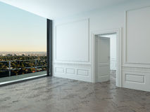 Empty room interior with large window. And wooden floor stock illustration