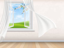 Empty room interior with open window Stock Images