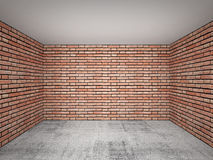 Empty room interior with red brick walls. Front view Stock Photography