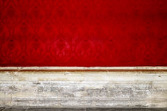 Empty room interior with red patterned wallpaper Stock Photos