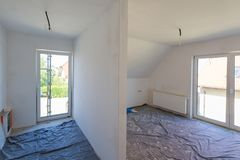 Empty room interior at renovation Royalty Free Stock Image