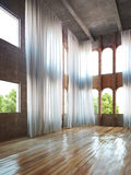 Empty room interior with rustic accents and curtains. Royalty Free Stock Photo