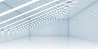 Empty room interior with thin stripes of lights. Contemporary architecture background. 3d render illustration Stock Image