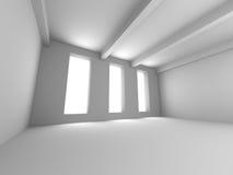 Empty Room Interior White Background. 3d Render Illustration Stock Photos