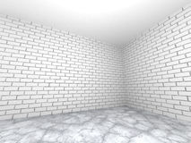 Empty room interior with white brick wall and concrete floor. Ab Stock Photography