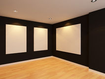 Empty room interior with white canvas on black wall in the galle Royalty Free Stock Photography