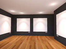 Empty room interior with white canvas on black wall in the galle Royalty Free Stock Image