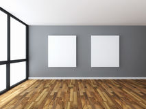 Empty room interior with white canvas Stock Photo