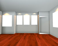Empty room interior with white canvas view front. Empty room interior with white canvas on white wall and wooden floor in the gallery stock illustration