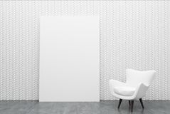 White armchair and a poster. Empty room interior with a white wall, a concrete floor and a white armchair standing near a wall. A poster. 3d rendering mock up Royalty Free Stock Photos
