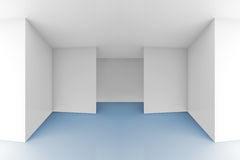 Empty room interior with white walls and blue floor. Abstract architectural 3d background, empty room interior with white walls and blue floor royalty free illustration