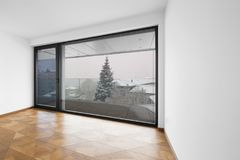 Empty Room. It`s Snowing Outside. Stock Image