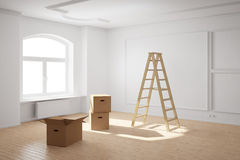 Empty room with ladder and boxes Royalty Free Stock Images