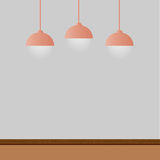 Empty room with lamps. Vector Royalty Free Stock Image