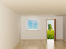 Empty room. Landscape behind the open door. Stock Photo