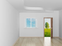 Empty room. Landscape behind the open door. Royalty Free Stock Photography