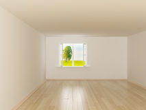 Empty room. Landscape behind the open window. stock illustration