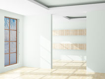 Empty room. Landscape behind the open window. Royalty Free Stock Photos