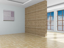 Empty room. Landscape behind the open window. royalty free illustration