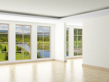 Empty room. Landscape behind window Royalty Free Stock Photos