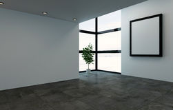 Empty room with large frame and windows. 3D rendering interior scene of empty room with large square picture frame and bright windows. Single large houseplant Royalty Free Stock Image