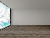 Empty room with a large view window. Parquet floor and blinds Stock Image