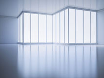 An empty room with a large window Royalty Free Stock Image