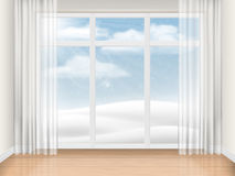 Empty room with large window. Empty bright room with large window and sunny winter landscape outside. Vector realistic illustration of the interior Royalty Free Stock Photo