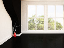Empty room with a large window and a vase Stock Photo