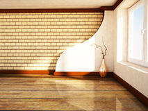 Empty room with a large window and a vase. Rendering Royalty Free Stock Photography