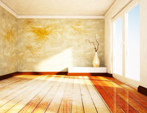 Empty room with a large window and a vase. Rendering Stock Photography