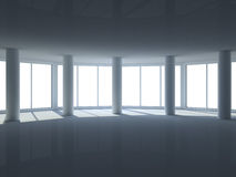 Empty room with large windows Royalty Free Stock Photography