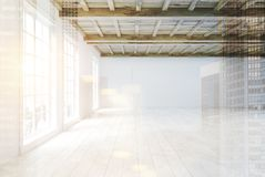 Empty room with large windows, side view double. Side view of an empty room interior with white walls, a wooden floor and ceiling and large loft windows. 3d Stock Photography