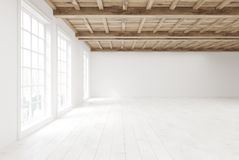 Empty room with large windows, side view. Side view of an empty room interior with white walls, a wooden floor and ceiling and large loft windows. 3d rendering Stock Photo