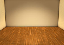 Empty room with light beige wall and wooden parquet floor. Royalty Free Stock Images