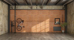 Empty room in a loft. With bicycle hanging on brick wall and old radiator - 3d rendering vector illustration
