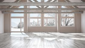 Empty room in luxury eco house, parquet floor and wooden roof tr. Usses, panoramic window on winter meadow, modern white architecture interior design stock illustration