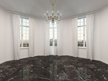 Empty room with a marble floor Stock Photos